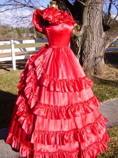 Red Colonial gown