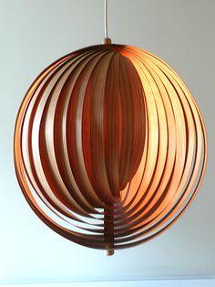 Original 1970s PINE Laminate MOON Lamp Panton Jakobsson Danish Modern 60s Era