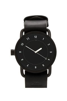 TID Watches No. 1 + Leather Wristband in Black & Black   REVOLVE