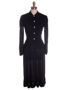 Vintage 2 PC Black Rayon Jacket & Dress w/Pleat Detail 1940s 35-26-38
