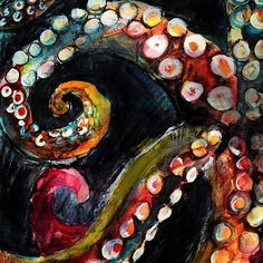 Tentacles in the Dark – A mixed media painting celebrating the changing colors of octopus! Getting up-close and personal with the tentacles. Charcoal, watercolor and oil pastel. By Crystal Smith – prints available. Painting Inspiration, Art Inspo, Octopus Painting, Octopus Tentacles Drawing, Octopus Octopus, Octopus Artwork, Octopus Images, Art Pastel, Guache