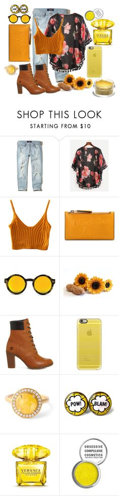 """""""yellow stuff"""" by vaxentino on Polyvore featuring moda, Hollister Co., WithChic, Gucci, Timberland, Casetify, Anne Sportun, Versace e Obsessive Compulsive Cosmetics"""