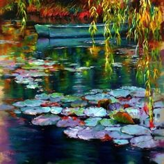 Travels - Donna Young Fine Art and Oil Paintings Water Lilies Painting, Lily Painting, Lotus Painting, Abstract Landscape, Landscape Paintings, Abstract Art, Acrylic Painting Techniques, Painting Inspiration, Flower Art
