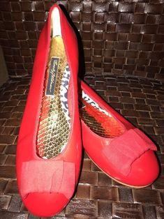 f3461b4e9c63 New Beverly Feldman Red Leather Ballet Flats Bow Front 8.5M 150  Retail   BeverlyFeldman