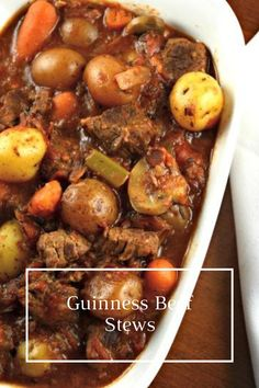 This stew is perfect to eat on a cool day or whenever you need something warm and delicious in your tummy! This recipe for Guinness Beef Stew is comfort food at its best. Bhg Recipes, Brunch Recipes, Asian Recipes, Appetizer Recipes, Guinness Beef Stew, Baked Vegetables, Most Delicious Recipe, Dinner Entrees, Beef Casserole