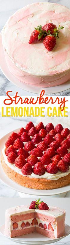 Perfect Fresh Strawberry Lemonade Cake Recipe via @spicyperspectiv