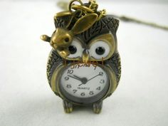 Owl with a bunny Steampunk necklace Pocket Watch Necklace harry potter pocket watch - An owl and a watch - what's not to like?