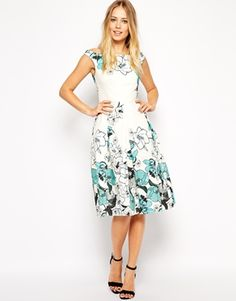 I like the fabric for this! ASOS Floral Border Bardot Prom Dress