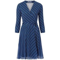 DVF Irina Dress ($110) ❤ liked on Polyvore featuring dresses, diagonaldots, v neck dress, blue sleeve dress, diane von furstenberg, silk tie dress and sleeved dresses