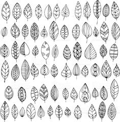 set of decorative abstract leaves, hand drawn design elements Fall Leaves Coloring Pages, Leaf Coloring, Coloring Pages For Kids, Coloring Sheets, Fall Coloring, Mandala Coloring, Adult Coloring, Coloring Books, Doodle Patterns