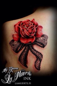 Black work lace bow & red roses tattoo on back