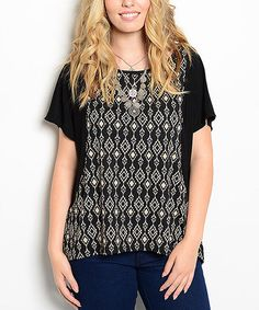 Loving this Black & Taupe Ikat Cape-Sleeve Top - Plus on #zulily! #zulilyfinds