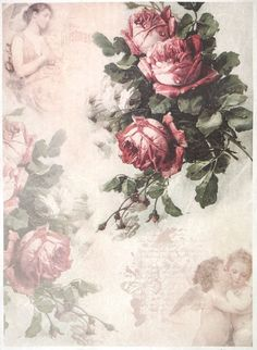 Rice Paper for Decoupage Decopatch Scrapbook Craft Sheet A/3 Vintage Red Roses