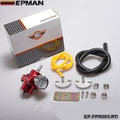 EPMAN - Adjustable FueL Pressure Regulator FPR 0-140 Psi Oil Gauge+Hose Kit (Default Color Red)Universal Jdm EP-FPR003