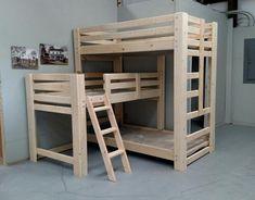 L Shaped Custom Triple Bunk Bed