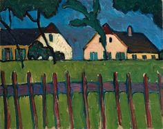 Gabriele Münter, Zwei Häuser mit Holzzaun