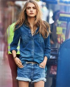 denim shorts & denim shirt.