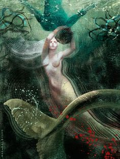 Anna and Elena Balbusso Mermaid, 2012      This is a commission work for Tor.com's Men Who Wish to Drown by Elizabeth Fama. I love the work they did for Margaret Atwood's The Handsmaid Tale too, which you can find on their site.