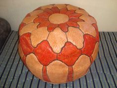 Moroccan leather ottoman from Etsy, $89.99