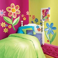 Love the bright colors and painted flowers instead of stick on's!