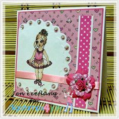 """A card made with one of my own digistamps """"DEB'S DEBUT"""" available from Digistamps4joy.co.za"""