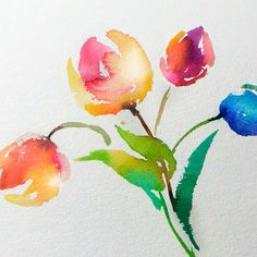 Tulips Watercolor Painting (Fast and Easy)
