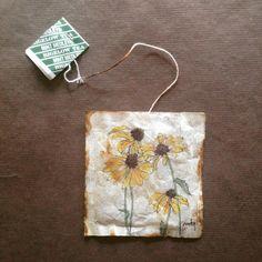 363 days of tea. #blackeyedsusan #recycled #teabag #art www.rubysilvious.com