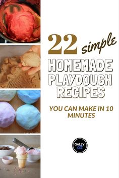 DIY playdough recipes that are so easy to make. Choose the type of playdough you want (tartar-free? Edible? Gluten free? And more...) from this list of 22 easy to make recipes.