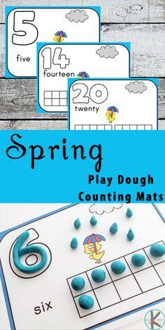 FREE spring counting activity for toddler, preschool, prek, kindergarten - playdough mats