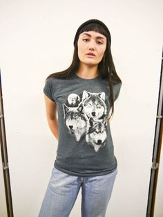 Wildlife Wolves Trio & Moon T-shirt Wolf Tee Wolf top by WLCSHOP