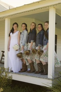 Bridesmaids in jean jackets - perfect solution for a chilly fall day #CountryWedding - from Burlap & Lace Rustic Barn Wedding - #CowgirlWedding