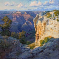 """""""Grand Canyon Glow"""" by featured artist Becky Joy. She captures the amazing light in the American Southwest in her stunning landscapes. See her work at Fantasy Landscape, Landscape Art, Landscape Paintings, Impressionist Paintings, Landscape Illustration, Beautiful Paintings Of Nature, Nature Paintings, Desert Art, Park Art"""