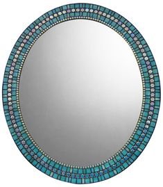 MIRROR DESCRIPTION This oval mosaic mirror design is part of Opus Mosaics Affinity Collection and features iridescent glass mosaic and metal beads. It is available on a made-to-order basis and is personally handcrafted by mosaic artist Josh Hilzendeger.  COLOR SCHEME Turquoise green-blue, mint green, iridescent light green, aqua blue, and iridescent denim blue with black grout and silver-nickel metal beads.  AVAILABILITY Due to the unique handcrafted nature of this mirror frame and high…