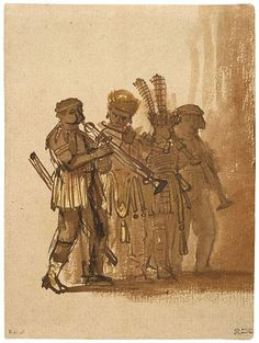 Rembrandt Harmenszoon van Rijn (1606–1669) Four Musicians with Wind Instruments, ca. 1638 Pen and brown ink, brown wash, some red and yellow-ochre chalk 7 1/16 x 5 1/4 inches (179 x 135 mm)