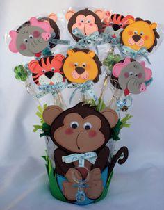 Monkey centerpiece metal bucket / Baby Shower / Baby by BeFestive, $25.00