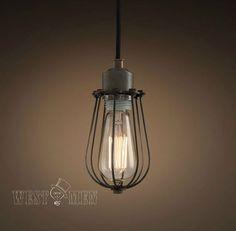 modern industrial kitchen pendant lighting fixture hanging single cage midcentury Edison penant light for bathroom CAHOL
