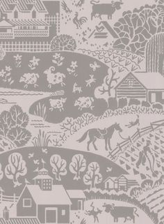 A charming rural farm scene wallpaper design with pretty curved hills and farmyard animals. Cow Wallpaper, Bathroom Wallpaper, Animal Wallpaper, True Colors, Colours, Curved Walls, Grey Home Decor, English Country Gardens, Farm Yard