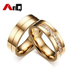 AnQ High Polished 316 Stainless Steel Zircon Rings for Women Simple Gold Male Ring Wedding Jewelry Top Quality Couple Ring T4