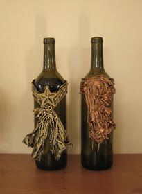 art stone and paverpol mixed crackled clay art stone and . Wine Bottle Design, Wine Bottle Art, Wine Bottle Holders, Bottles And Jars, Glass Bottles, Art Antique, Jar Art, Altered Bottles, Art Design