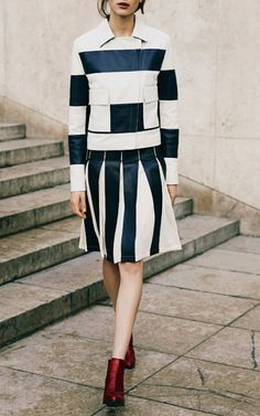 SONIA RYKIEL Striped Leather Jacket & Leather And Georgette Skirt