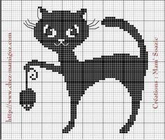 Chat Noir stylisé à broder n° 2, en habillage de boite