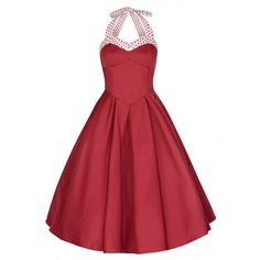 'Carola' Red Cotton Rockabilly Swing Dress ($26) ❤ liked on Polyvore featuring dresses, red, rockabilly swing dress, trapeze dress, red circle skirt, red swing dress and red flared skirt