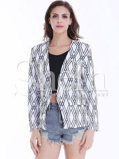Shop White Long Sleeve Black Diamond Print Crop Blazer online. SheIn offers…
