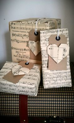 You can print out sheet music on the internet, burn the edges and dye it with tea, let it dry, then wrap gifts with that as well...