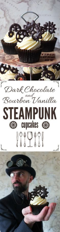 Dark Chocolate and Bourbon Vanilla Steampunk Cupcakes
