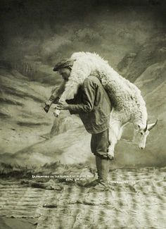 Ivan believed that a goat on the back was worth two tethered in the yard.  'S.A.. Crawford carrying a goat' (1905)