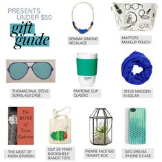 """""""Polyvore Gift Guide: Presents Under $50"""" by polyvore. www.gemmasimone.com"""