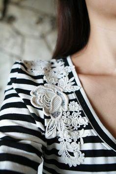 T-shirt + liquid stitch + lace