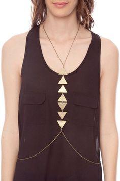 Triangles Bodychain in Brass $11 at www.tobi.com