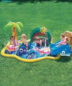 New Banzai Baby Sprinkles Splish Splash Pool Inflatable Pool w Sunshade Canopy | eBay